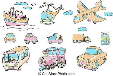 Vector set of transports. Cartoon colored isolated objects on a white background. Multicolored hand drawn illustration.