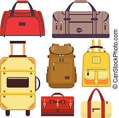 Vector set of travel bags. Illustration with different types luggage icons isolated on white background