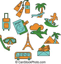 Vector set of travel icons