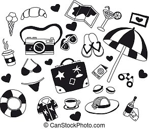 Vector set of travel icons Hand drawn elements