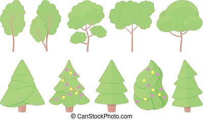 Vector set of Trees and Christmas tree paper cut. Hedge and Bush elements for seasonal landscape, card, web, greeting banner.