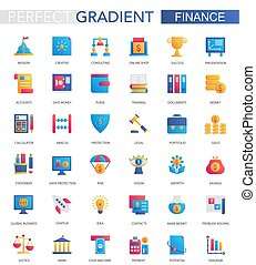 Vector set of trendy flat gradient Finance, business and banking icons.