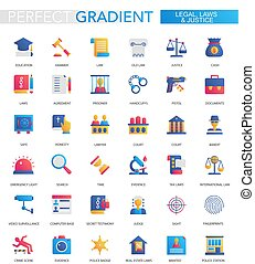 Vector set of trendy flat gradient Legal, law and justice icons.