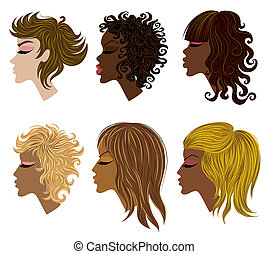 Vector set of trendy hair styling for woman