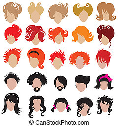 Vector set of trendy hair styling i