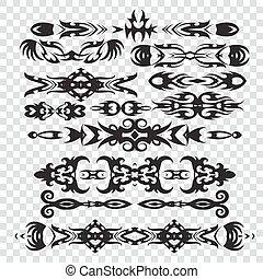 set of tribal tattoos elements in black color for design,