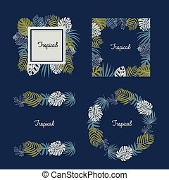 Vector set of tropical leaves, pattern brush, frame border design