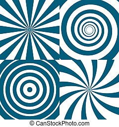 Vector set of twirls. Psychedelic circles and swirl