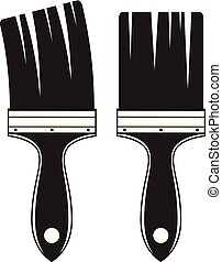 vector set of two black and white artist paint brushes