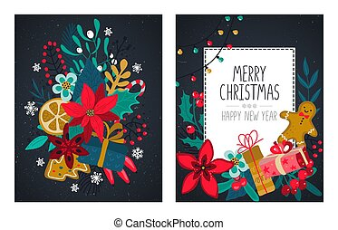 Vector set of two Christmas and New Year greeting cards with handwritten text, flowers, plants, holiday simbols