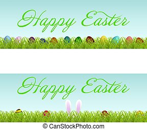 Vector set of two Easter banners with colorful Easter eggs on green grass and lettering. Isolated on white background.