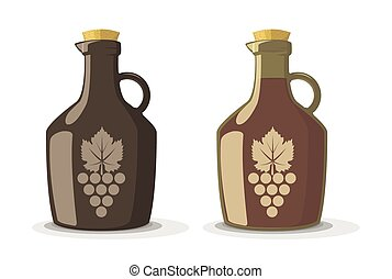 Vector set of two wine bottles