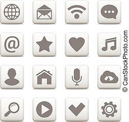 Vector set of universal icons on web buttons