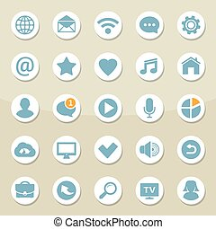 Vector set of universal web icons for media, communication, contact, mobile and social network