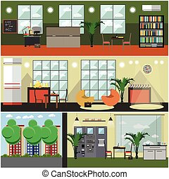 Vector set of university interior posters, banners in flat style