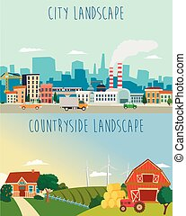 Vector set of urban and countryside landscapes. Big city, village farm illustration in flat style design