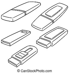 vector set of usb flash drive