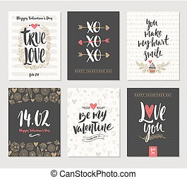 Vector set of Valentine's Day greeting cards