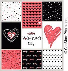 Vector set of Valentine's Day hand drawn posters