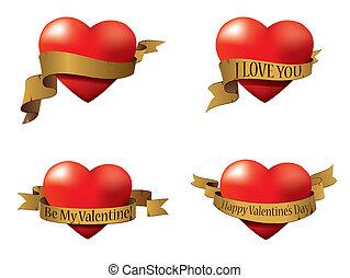 Vector set of Valentine's hearts