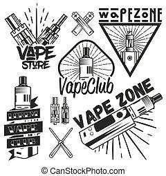 Vector set of vape shop labels in vintage style. Design...
