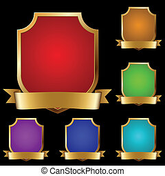 Vector set of varicolored decorative golden shields with banner isolated on black background.