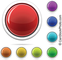 Vector set of varicolored spherical glossy buttons