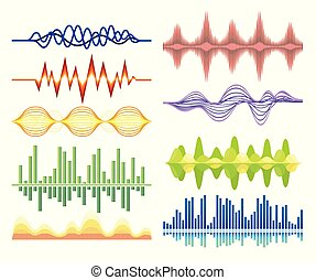 Vector set of various abstract music waves. Sound vibrations. Digital equalizer. Audio technology