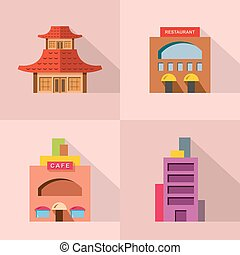 Vector Set of Various Building icon.
