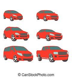 Vector set of various city urban traffic vehicles icons compact, sedan, suv, van, pickup
