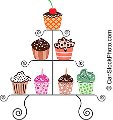 vector set of various cupcakes on a stand