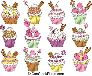 Vector Set of Various Cupcakes - Vector set of various...