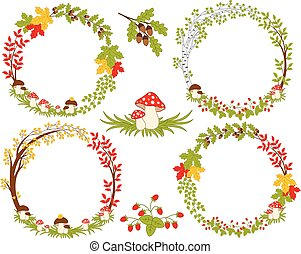 Vector Set of Various Forest Wreath