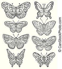 Vector set of various forms butterflies