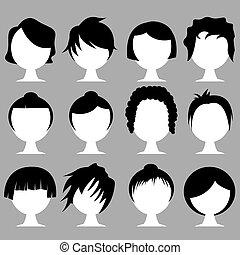 hair styles - vector set of various hair styles
