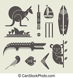 australia icons - Vector set of various stylized australia...