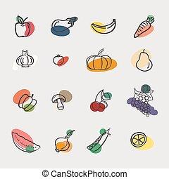 Vector set of vegetables: