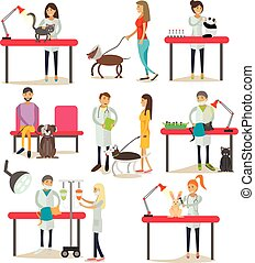 Vector set of vet clinic staff, clients, pets, flat design