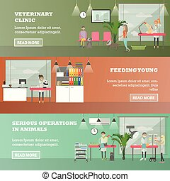 Vector set of veterinary care concept horizontal banners, flat style.