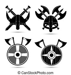 Vector set of  viking icons isolated on white background