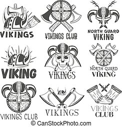Vector set of vikings labels in vintage style. Design elements, icons, logo, emblems, badges. Viking warrior helmet and axe