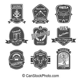 Vector set of vintage alcohol labels