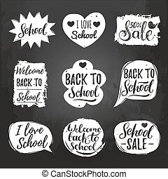 Vector set of vintage Back to School in comic speech bubbles...