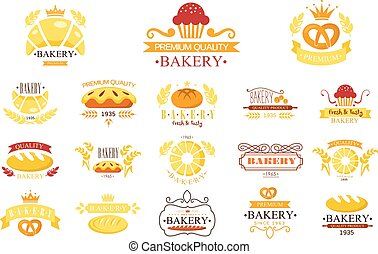 Vector set of vintage bakery labels. Emblems with fresh bread, pies, pretzel, buns, loaves, cupcakes, croissants, ribbons and ears of wheat. Design for logo of bakehouse