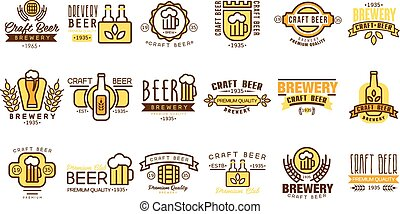 Vector set of vintage beer logos templates. Original linear emblems with colorful fill. Brewing company symbols. Typographic design