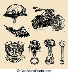 Vector set of vintage bikers elements. Hand sketched chopper signs collection for logo etc. Detailed custom motorcycle.