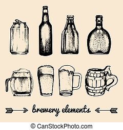 Vector set of vintage brewery elements. Collection with beer icons. Barrels, bottles, glasses etc.sketched illustrations