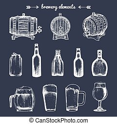 Vector set of vintage brewery elements. Retro collection with beer icons. Lager, ale barrels, bottles etc illustrations.