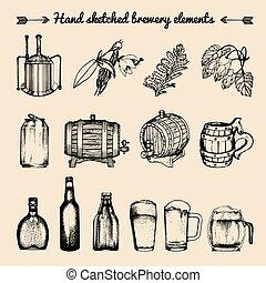 Vector set of vintage brewery elements. Retro collection with beer signs. Barrels, bottles etc. sketched illustrations.