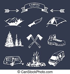 Vector set of vintage camping elements for logos, tourism emblems, badges. Retro signs collection of outdoor adventures.